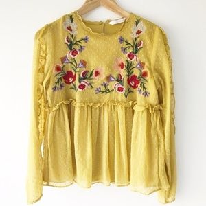 Zara Yellow Floral Embroidered Ruffle Blouse